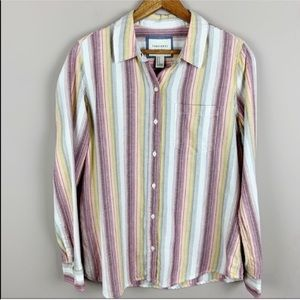 🌿Forever 21 Striped Long Sleeve Button Down Shirt